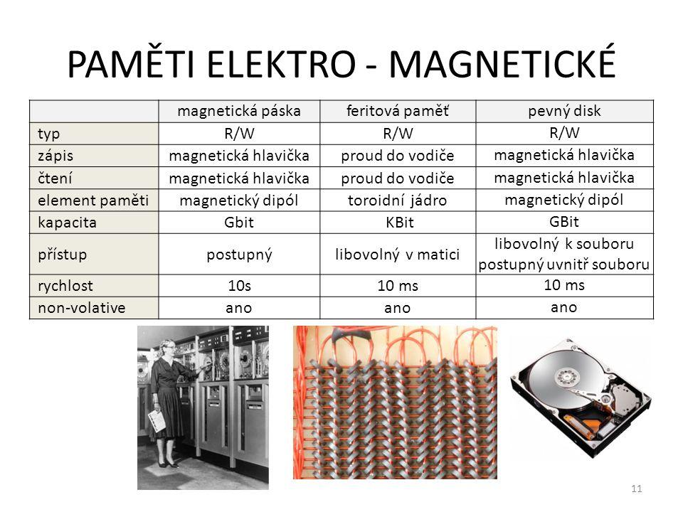 12 PAMĚTI POLOVODIČOVÉ I typROMPROM EPROM zápismaska při výroběproudový impulz mazání- UV světlo element paměti(ne)vodivý spoj el.