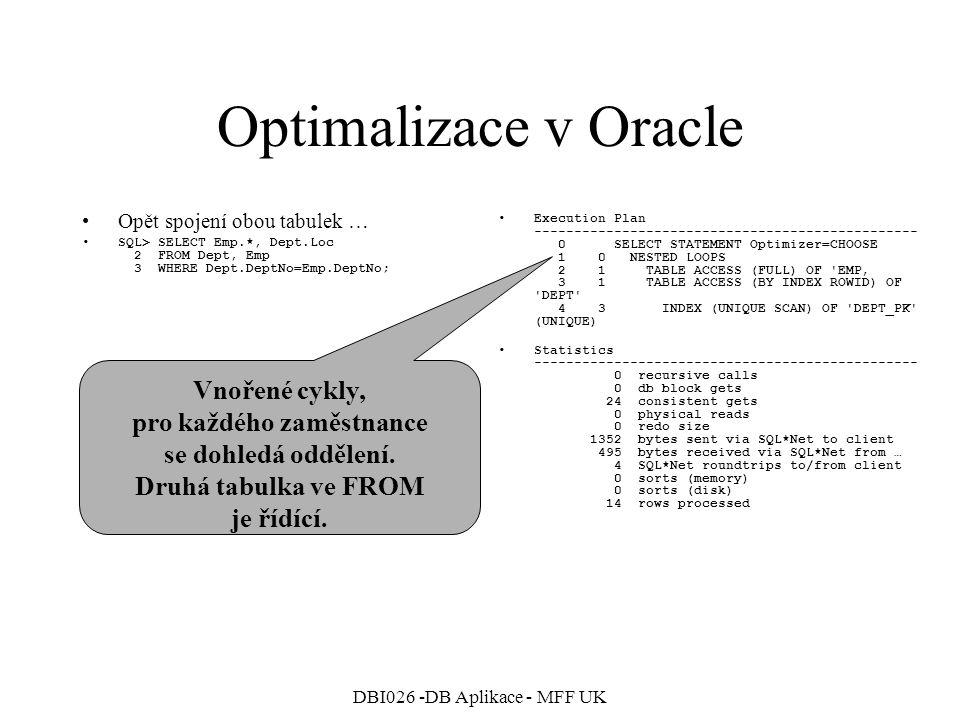DBI026 -DB Aplikace - MFF UK Optimalizace v Oracle Opět spojení obou tabulek … prohodíme pořadí tabulek ve FROM SQL> SELECT Emp.*, Dept.Loc 2 FROM Emp, Dept 3 WHERE Dept.DeptNo=Emp.DeptNo; Execution Plan ------------------------------------------------ 0 SELECT STATEMENT Optimizer=CHOOSE 1 0 TABLE ACCESS (BY INDEX ROWID) OF EMP 2 1 NESTED LOOPS 3 2 TABLE ACCESS (FULL) OF DEPT' 4 2 INDEX (RANGE SCAN) OF EMP_DEPTNO_INX (NON-UNIQUE) Statistics ------------------------------------------------ 0 recursive calls 0 db block gets 13 consistent gets 0 physical reads 0 redo size 1280 bytes sent via SQL*Net to client 495 bytes received via SQL*Net from … 4 SQL*Net roundtrips to/from client 0 sorts (memory) 0 sorts (disk) 14 rows processed Vnořené cykly, pro každé oddělení se dohledají zaměstnanci.