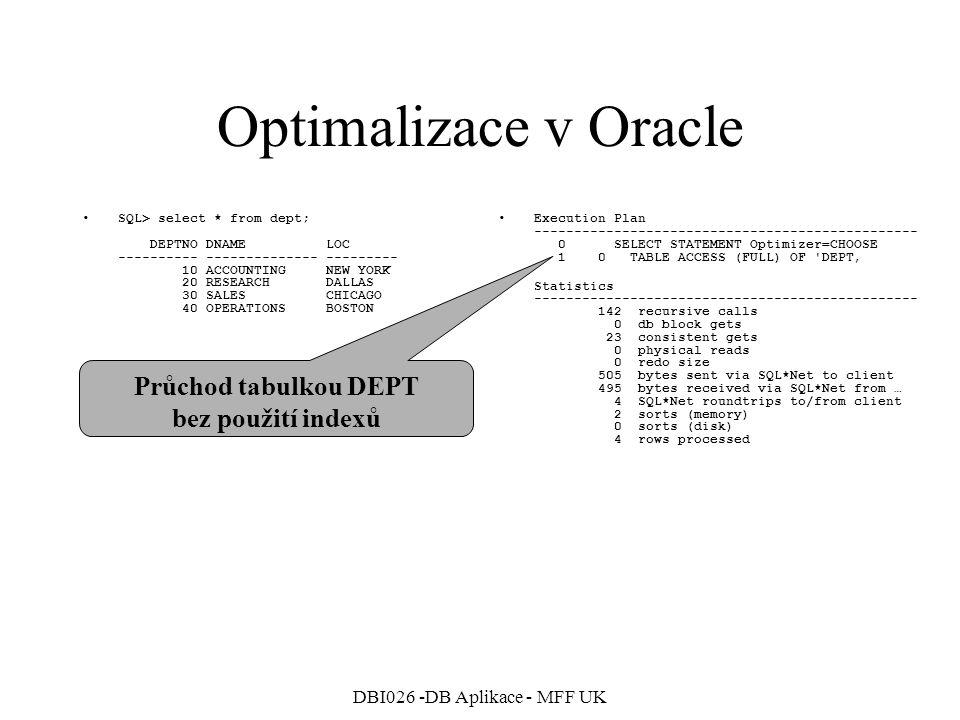 DBI026 -DB Aplikace - MFF UK Optimalizace v Oracle Spojení obou tabulek EMP a DEPT SQL> SELECT Emp.*, Dept.Loc 2 FROM Dept, Emp 3 WHERE Dept.DeptNo=Emp.DeptNo; Execution Plan ------------------------------------------------ 0 SELECT STATEMENT Optimizer=CHOOSE 1 0 MERGE JOIN 2 1 SORT (JOIN) 3 2 TABLE ACCESS (FULL) OF EMP' 4 1 SORT (JOIN) 5 4 TABLE ACCESS (FULL) OF DEPT Statistics ------------------------------------------------ 149 recursive calls 0 db block gets 33 consistent gets 0 physical reads 0 redo size 1239 bytes sent via SQL*Net to client 495 bytes received via SQL*Net from … 4 SQL*Net roundtrips to/from client 4 sorts (memory) 0 sorts (disk) 14 rows processed Setřídění obou tabulek a následný MERGE (velmi neefektivní spojení)