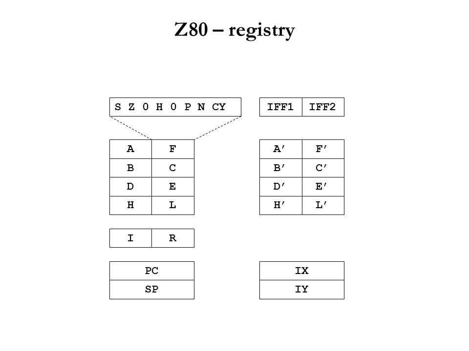 """Z80 – instrukční soubor Binární kompatibilita  kompletní instrukční sada 8080 (z licenčních důvodů ovšem se zcela novou mnemonikou ) Množství nových instrukcí: –""""jednoduchá rozšíření – např."""