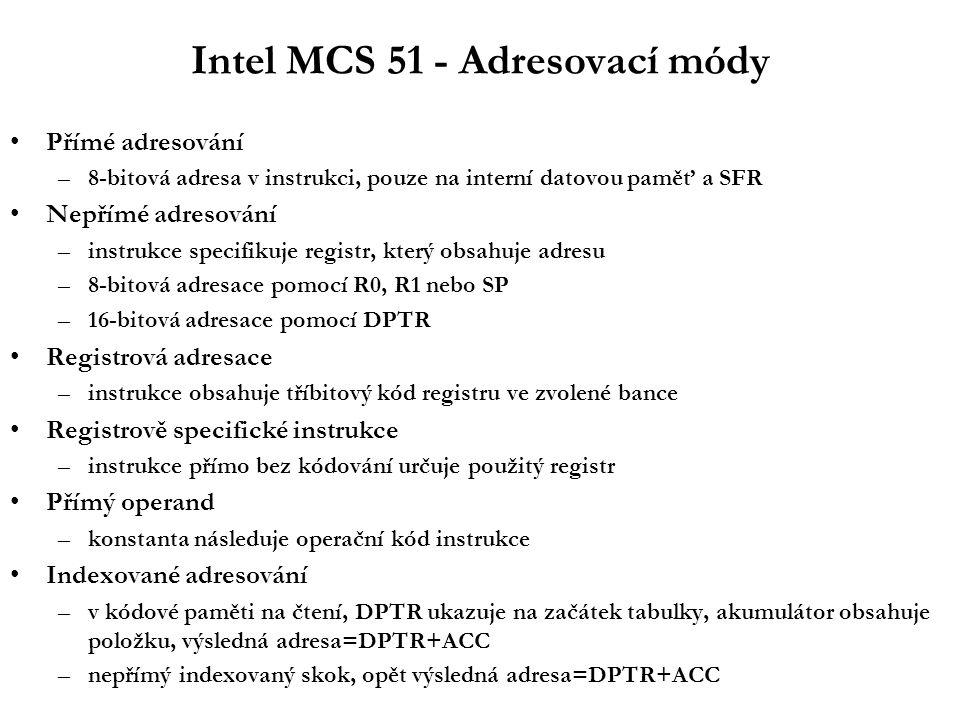 Intel MCS 51 - Přerušení Vektory přerušení: Nastavení priority zdroje přerušení v registru IP Priority uvnitř jedné úrovně priority přerušení –IE0, TF0, IE1, TF1, RI nebo TI, TF2 nebo EXF