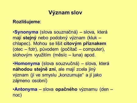 Synonyma cvičení