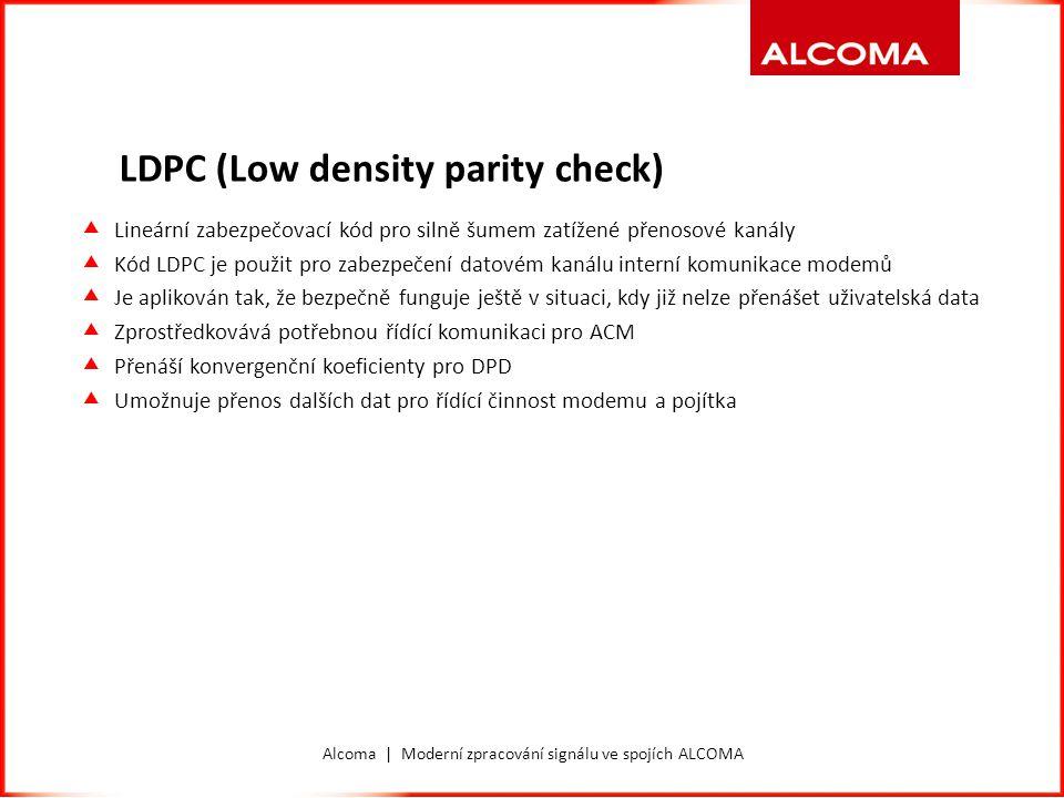 Alcoma | Moderní zpracování signálu ve spojích ALCOMA Derotator  Digitální část modemu, která zajišťuje přesné sledování fáze konstelačního diagramu  Slouží k zajištění synchronizace a odstranění fázového šumu.