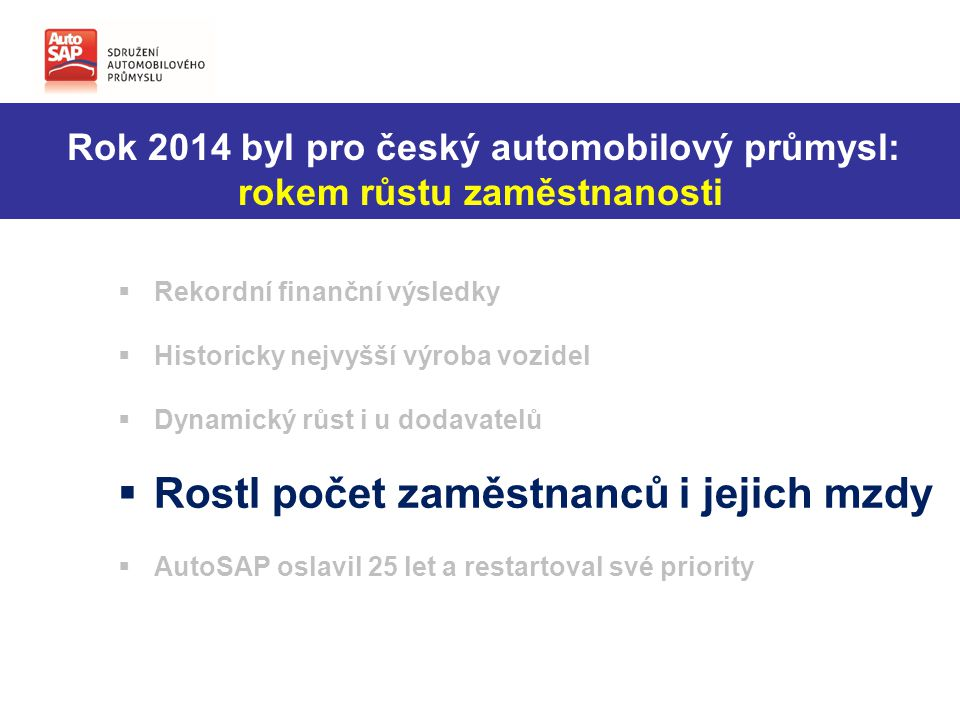 Zvýšil se počet zaměstnanců ve firmách AutoSAP + 3,27 %