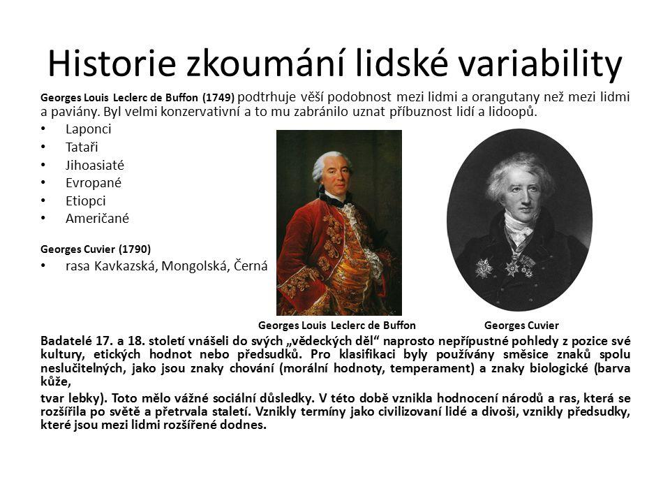 Historie zkoumání lidské variability v 19.stol. Ve všech rasových teoriích v 19.
