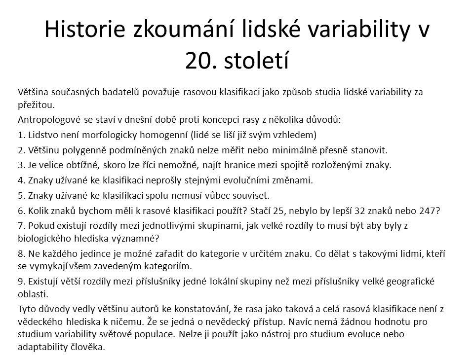 Historie zkoumání lidské variability v 20.