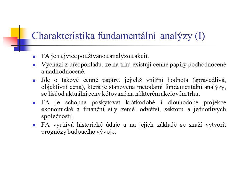 Charakteristika fundamentální analýzy (II) K odhalování a podrobnému zkoumání kurzotvorných faktorů dochází na třech úrovních: 1.