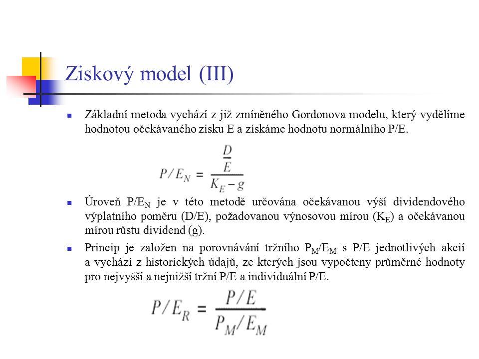 Ziskový model (IV) Mezinárodní komparace potvrzují, že: - hodnota P/E klesá s rostoucí požadovanou výnosovou mírou (reálný výnos, kupní síla peněz, prémie za riziko) - hodnota P/E klesá s rostoucí mírou inflace Pro stanovení vnitřní hodnoty akcie se používá tzv.
