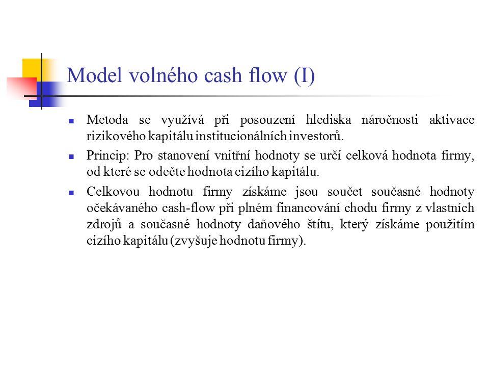 Model volného cash flow (II) Po provedení předpovědi cash flow na následující rok FCF 1 můžeme stanovit současnou hodnotu budoucích peněžních toků.