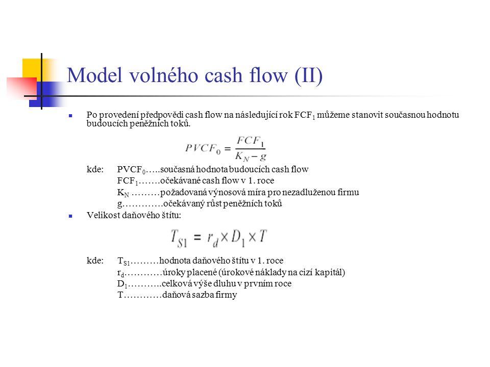 Model volného cash flow (III) Současnou hodnotu budoucích daňových štítů vypočítáme: Celkovou hodnotu firmy vypočítáme jako součet současné hodnoty budoucích peněžních toků a současné hodnoty budoucích daňových štítů: Celkovou vnitřní hodnotu akcií: Vnitřní hodnotu akcie (n…celkový počet akcií firmy): Vnitřní hodnota akcie je určena jako podíl vnitřní hodnoty akcií a počtem akcií.