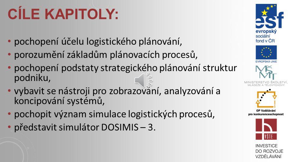 CÍLE KAPITOLY: pochopení účelu logistického plánování, porozumění základům plánovacích procesů, pochopení podstaty strategického plánování struktur podniku, vybavit se nástroji pro zobrazování, analyzování a koncipování systémů, pochopit význam simulace logistických procesů, představit simulátor DOSIMIS – 3.
