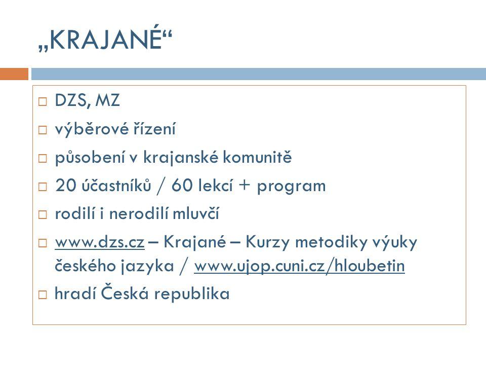METODICKÉ SETKÁNÍ  ÚJOP UK Praha  Česká centra, univerzity, další pracoviště  aktuální působení v zahraničí  20 účastníků / 30 lekcí  rodilí i nerodilí mluvčí  www.ujop.cuni.cz- Metodika češtiny jako cizího jazyka  zdarma