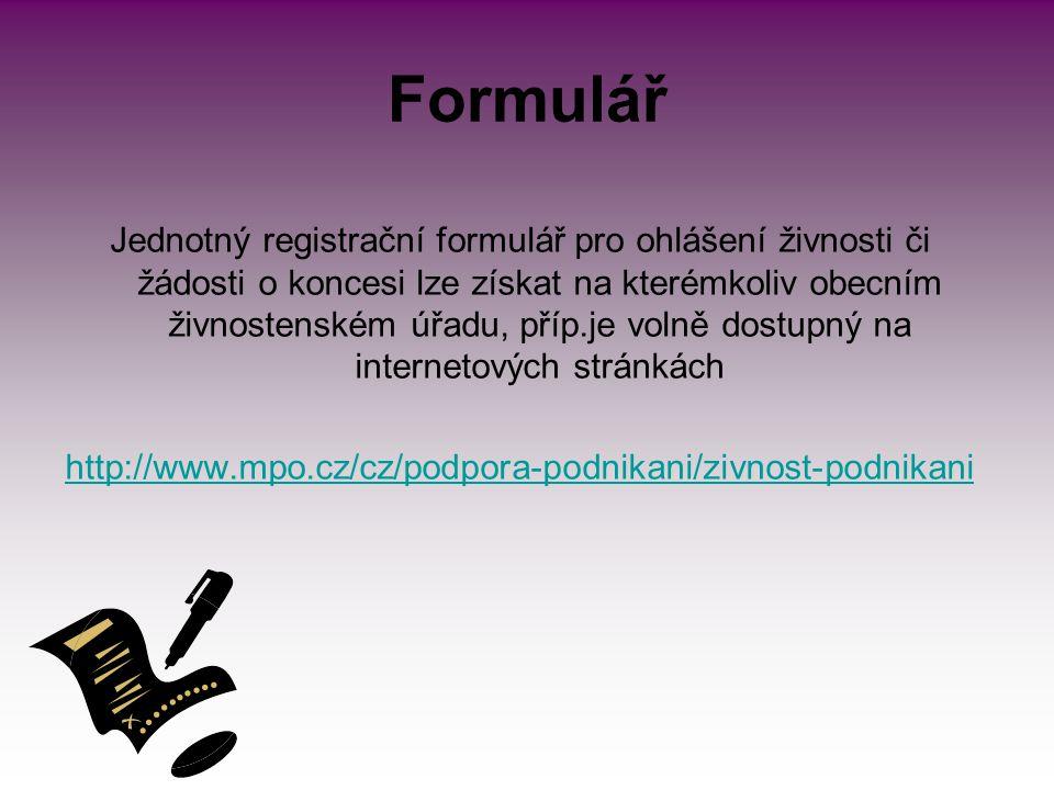 Správní poplatky 1 000,- Kč za ohlášení živnosti (resp.