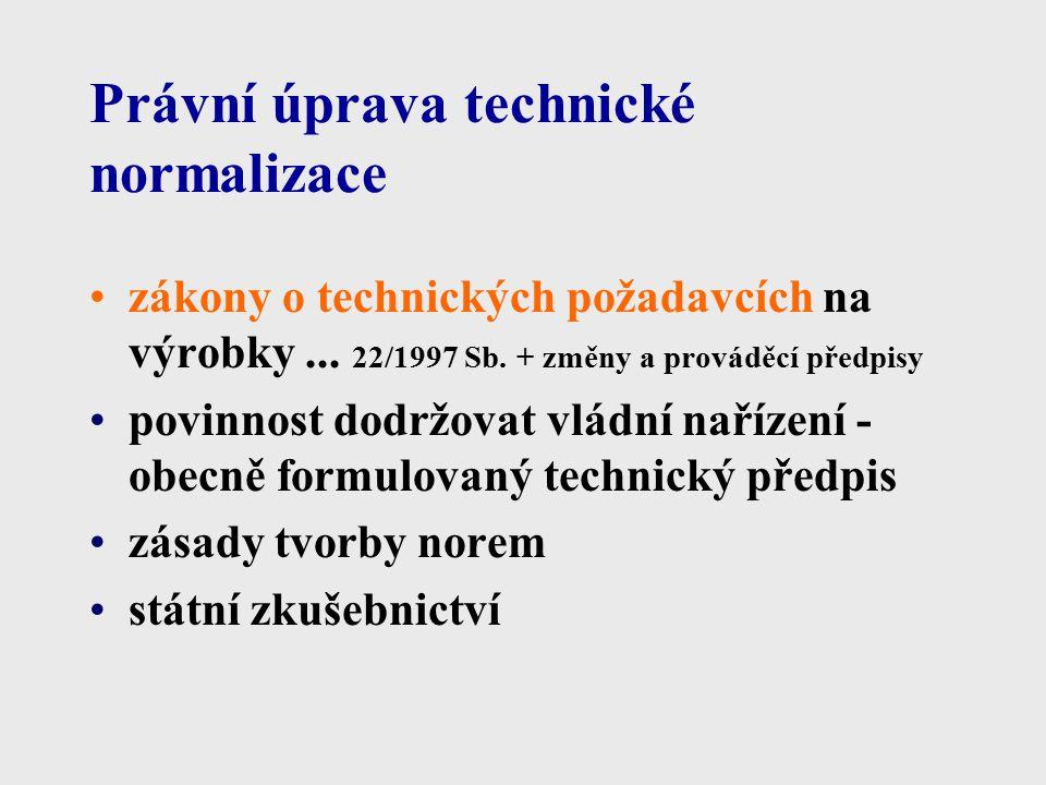 Druhy norem provenience národní evropské mezinárodní přejímání norem: převzetí překladem převzetí originálu schválením k přímému používání = překlad 1.