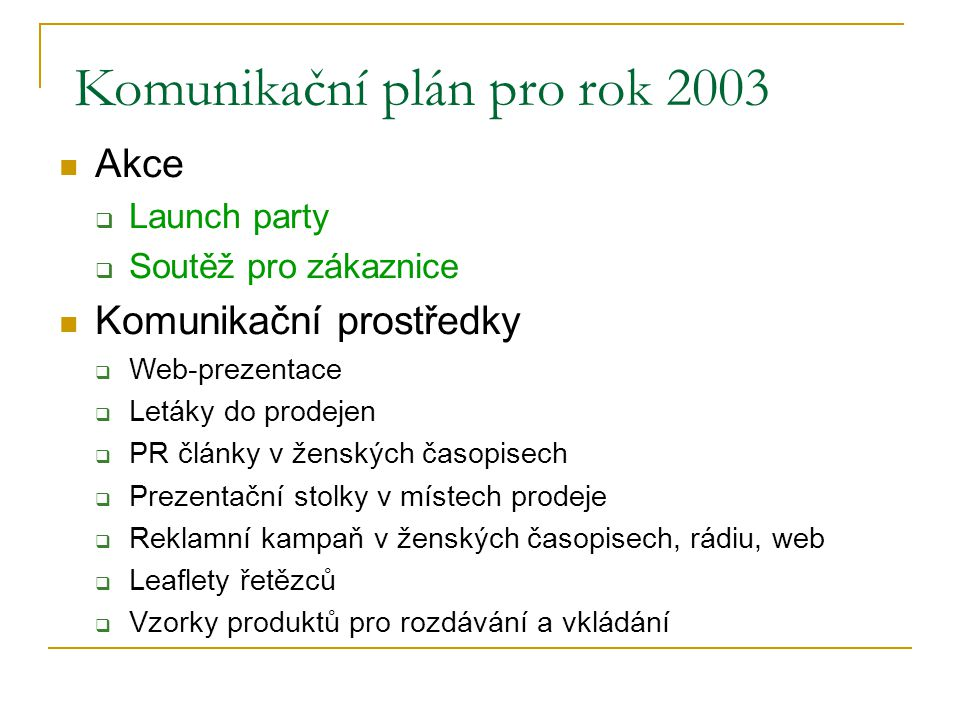 Akce pro rok 2003 Launch campaign (1.pol.