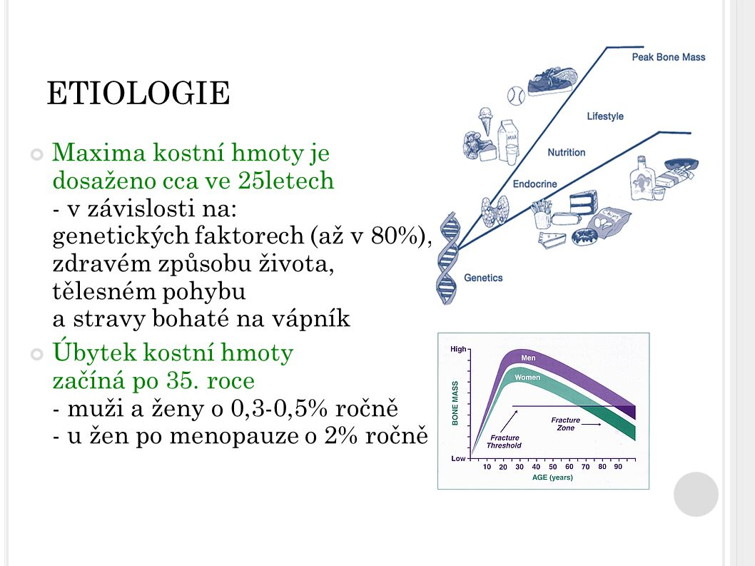 R IZIKOVÉ FAKTORY OSTEOPORÓZY Vnitřní faktory: - Genetické faktory - Věk, pohlaví, rasa - Geografické a klimatické vlivy Vnejší faktory: - neadekvátní příjem živin: nízký příjem Ca, nedostatek vit.