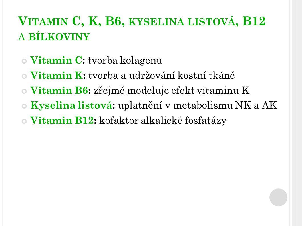 BÍLKOVINY Bílkoviny: komponenta kostní matrix + modifikace insulin-like růstového faktoru (stimulace osteoblastů) adekvátní příjem Ca:bílkoviny → ≥20:1 (mg:g) Vysoký příjem bílkovin je uváděn jako jeden z rizikových faktorů osteoporózy, protože vede k aminoacidurii a kalciurii Nízký příjem bílkovin je spojován se zvýšenou ztrátou kostní hmoty v oblasti krčku kosti stehenní a lumbální páteře, a proto by neměl klesnout pod 16 % energetického příjmu za den Kromě nepříznivého účinku na kost vede proteinová malnutrice ke snížení svalové hmoty a síly a zvyšuje tak riziko pádů