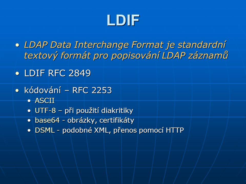 Software pro LDAP Adresářové serveryAdresářové servery OpenLDAPOpenLDAP Linux, FreeBSD, SolarisLinux, FreeBSD, Solaris HW nenáročný, ale pomalejšíHW nenáročný, ale pomalejší podpora SSL, Kerberos, TSL s knihovnami OpenSSLpodpora SSL, Kerberos, TSL s knihovnami OpenSSL TinyLDAPTinyLDAP velmi odlehčená verze OpenLDAP (bez replikací)velmi odlehčená verze OpenLDAP (bez replikací) malý a rychlý, ale ukládá pouze do textových souborůmalý a rychlý, ale ukládá pouze do textových souborů Sun Java Enterprise Directory ServerSun Java Enterprise Directory Server původně Netscape Directory Server, nyní součást JESpůvodně Netscape Directory Server, nyní součást JES plně podporuje LDAPv3plně podporuje LDAPv3 používá např.