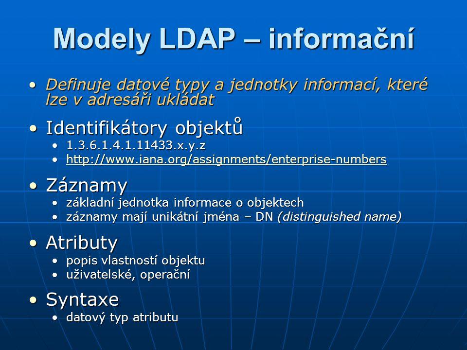 Modely LDAP – jmenný Definuje organizaci a odkazování se na uložená dataDefinuje organizaci a odkazování se na uložená data Stromová strukturaStromová struktura podobná např.