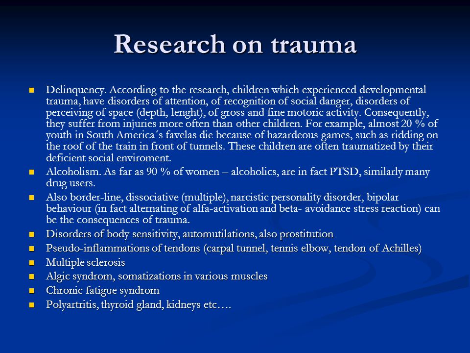 Posttraumatic stress disorder (PTSD) Basically anxiety disorder Basically anxiety disorder Happens after experiencing a heavy stress situation, which entails heavy emotional load, owerhelms normal human experience and would be traumatic for most of the people in such a situation Happens after experiencing a heavy stress situation, which entails heavy emotional load, owerhelms normal human experience and would be traumatic for most of the people in such a situation Main symptoms are posttraumatic flashbacks, avoidance behaviour and nonspecific symptoms such as sleep disorder, mood swings etc.