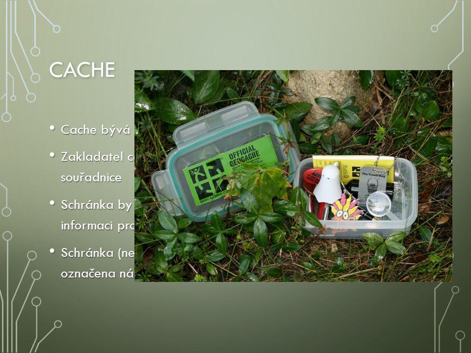 CACHE Dále může obsahovat různé předměty na výměnu Dále může obsahovat různé předměty na výměnu Nevhodné jsou předměty jako peníze, cigarety, zapalovače, předměty s nemravným vyobrazením apod.