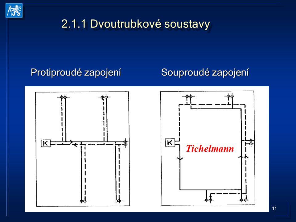 12 2.1.2 Jednotrubkové soustavy Základní schémata zapojení SeSe směšovací armaturou dvoubodovou jednobodovou HorizontálníHorizontální S obtokem S obtokem – Jezdecké zapojení – Regulovaný obtok ventilem, clonou, zúžením kmenové trubky, zasunutím přípojek do kmenové trubky, fitinkem v místě napojení zpětné přípojky Průtočné Průtočné