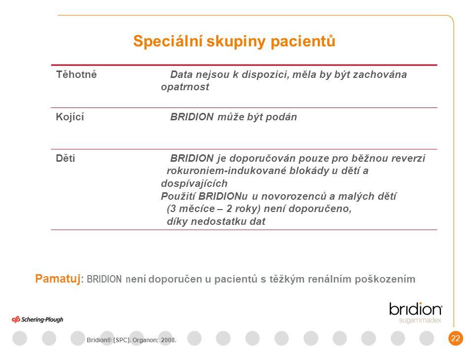 23 BRIDION je indikován pro reverzi neuromuskulární blokády indukované rokuroniem nebo vekuroniem Poznámka: Děti a dospívající - BRIDION je doporučován pouze pro rutinní reverzi rokuroniem-indukované blokády BRIDION - Indikace Bridion® [SPC].