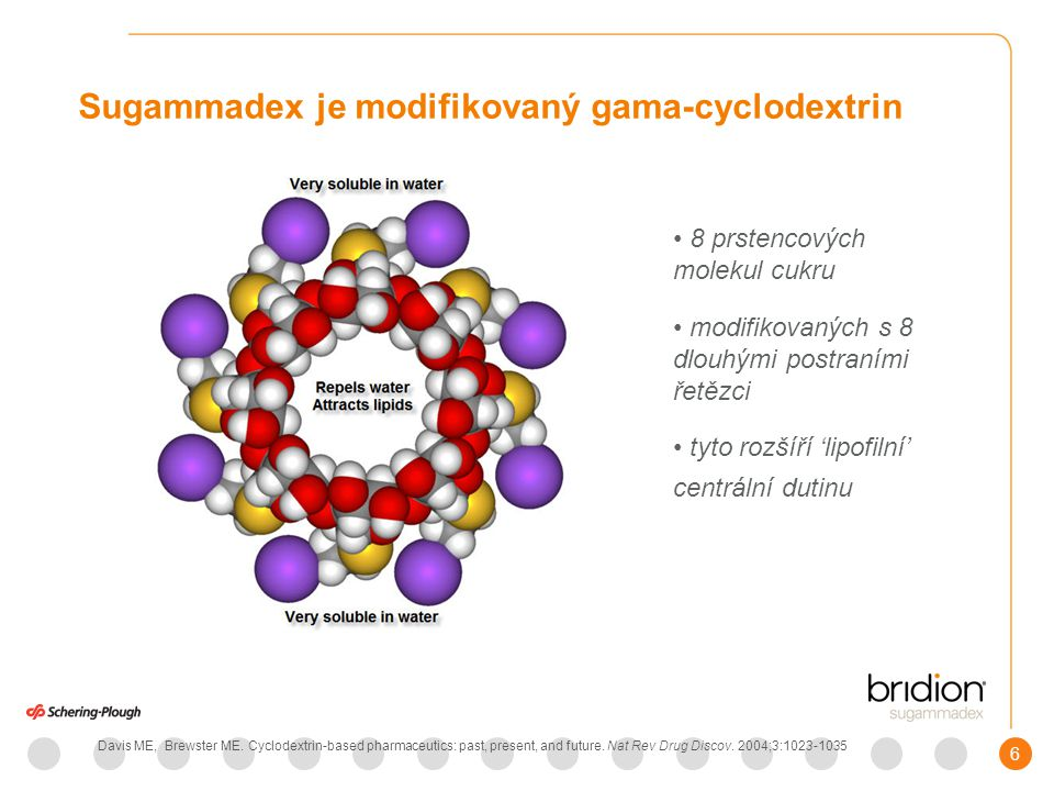 7 Sugammadex: mechanizmus účinku Sugammadex encapsuluje rokuronium a vekuronium, a tím je inaktivuje (v poměru 1 : 1) Naguib, Sugammadex: Another Milestone in Clinical NM Pharmacology2007