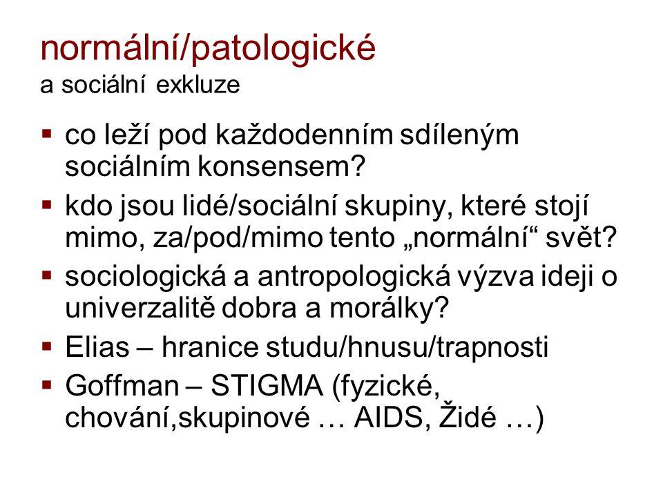 """normální/patologické a sociální exkluze  nálepkování: slabomyslný, retard, blázen, kripl, debil, idiot, teplouš, děvka, divnej, cigán, šikmookej …  NORMALITA x NE-NORMALITA  normální/slušní lidé (udržení řádu)  """"normální je strategie prosazení MOCI/tlak na konformitu."""