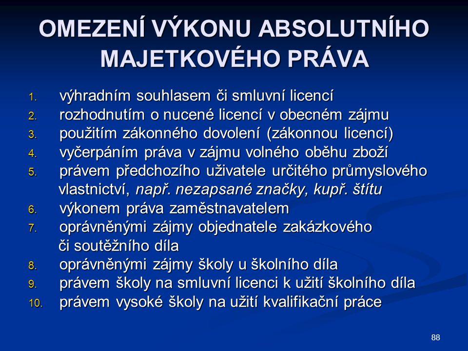 PRÁVNÍ TITULY UŽÍVÁNÍ CIZÍHO DUŠEVNÍHO VLASTNICTVÍ 1.