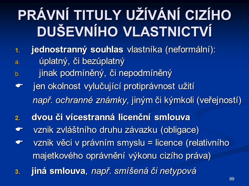  4.nucená (úřední) licence, viz např. rozhodnutí ÚPV ÚPV 5.