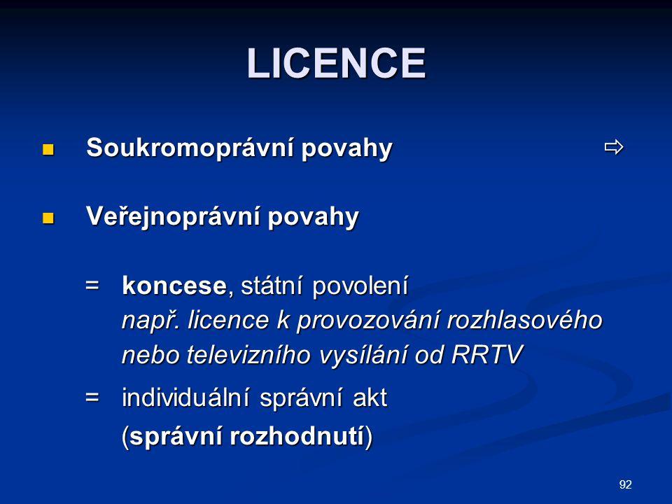 93  1.smluvní; titulem licenční smlouva 2.