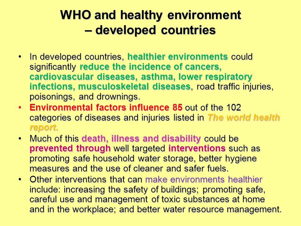 Prostředí a zdraví Zdravotní aspekty životního prostředí spadají do náplně práce hygienické služby Udržovat a upravovat životní prostředí tak, aby neohrožovalo zdravotní stav populace, populačních skupin, jedince.
