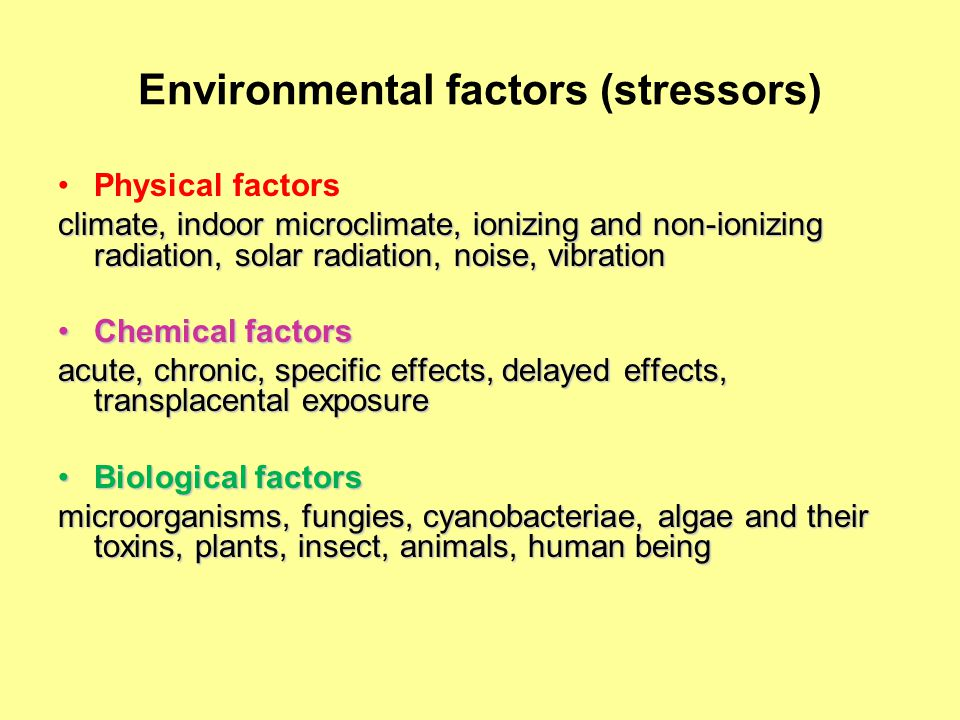 Adverse health effects of environmental factors Delayed effects (mutagenic, carcinogenic)Delayed effects (mutagenic, carcinogenic) Allergenic (pollen, household dust, mites, household cleaning compounds, etc…..)Allergenic (pollen, household dust, mites, household cleaning compounds, etc…..) Reproduction disorders (polycyclic aromatic hydrocarbons - PAHs, persistent organic pollutants - POPs)Reproduction disorders (polycyclic aromatic hydrocarbons - PAHs, persistent organic pollutants - POPs) Developmental toxicity (Pb, polychlorinated biphenyls – PCBs, dioxins etc.)Developmental toxicity (Pb, polychlorinated biphenyls – PCBs, dioxins etc.) Endocrine disrupting chemicals (POPs, PAH, Cd, zearalenon - mycotoxins)Endocrine disrupting chemicals (POPs, PAH, Cd, zearalenon - mycotoxins) Neurotoxicity (Hg, As, Pb, PCB, dioxins)Neurotoxicity (Hg, As, Pb, PCB, dioxins)