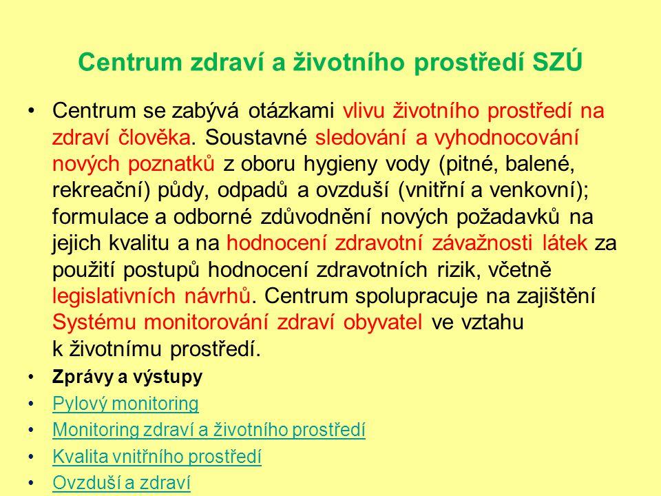 Monitoring zdraví a životního prostředí Systém monitorování je realizován ve vybraných lokalitách ČR.