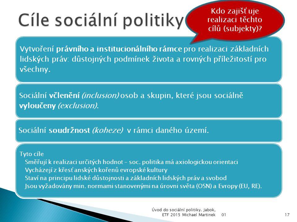 Užší vymezení: reakce na sociální rizika (stáří, nemoc, invalidita) a eliminace sociálních tvrdostí, které doprovázejí fungování tržního mechanizmu (nezaměstnanost, chudoba) = resortní sociální politika (patří do resortu MPSV).