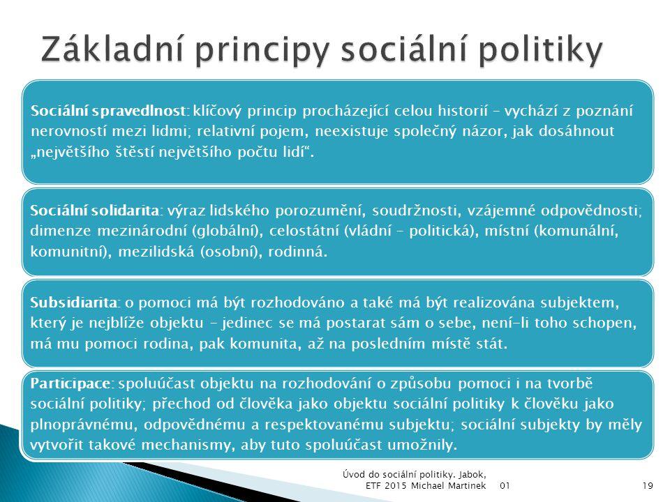  Sociální politika staví na určitých hodnotách.