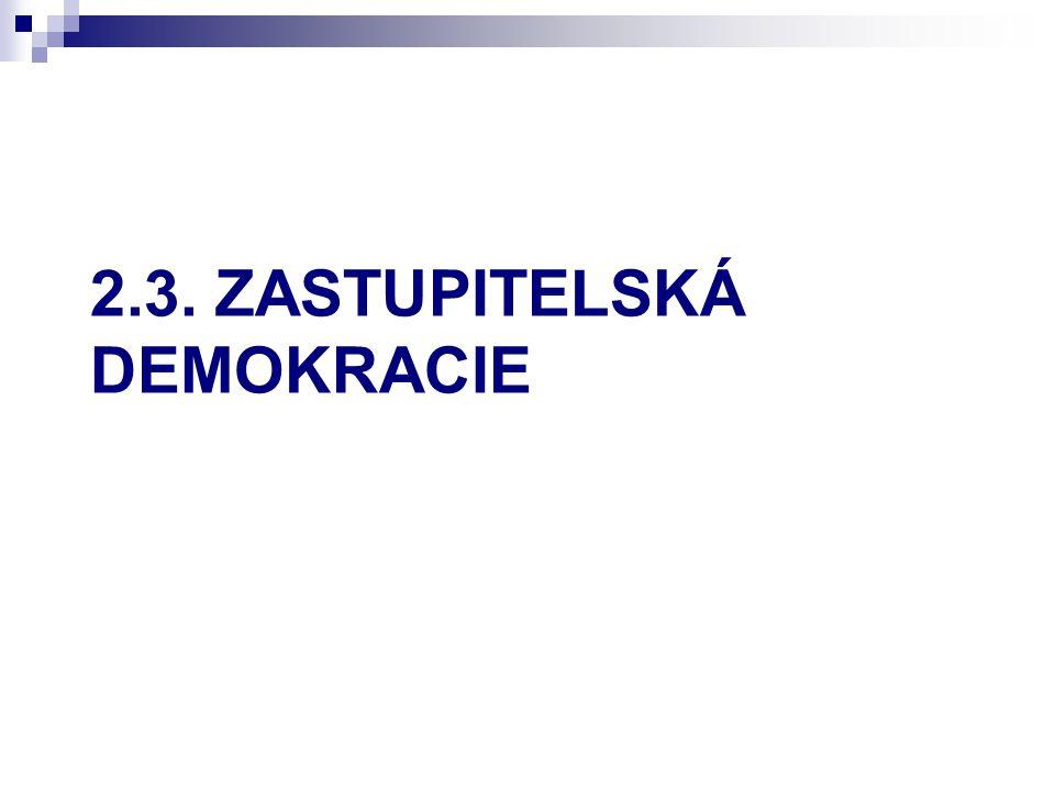 Zastupitelská demokracie Přímá demokracie funguje pouze v malých skupinách nebo ve výjimečných případech (volby, referenda).