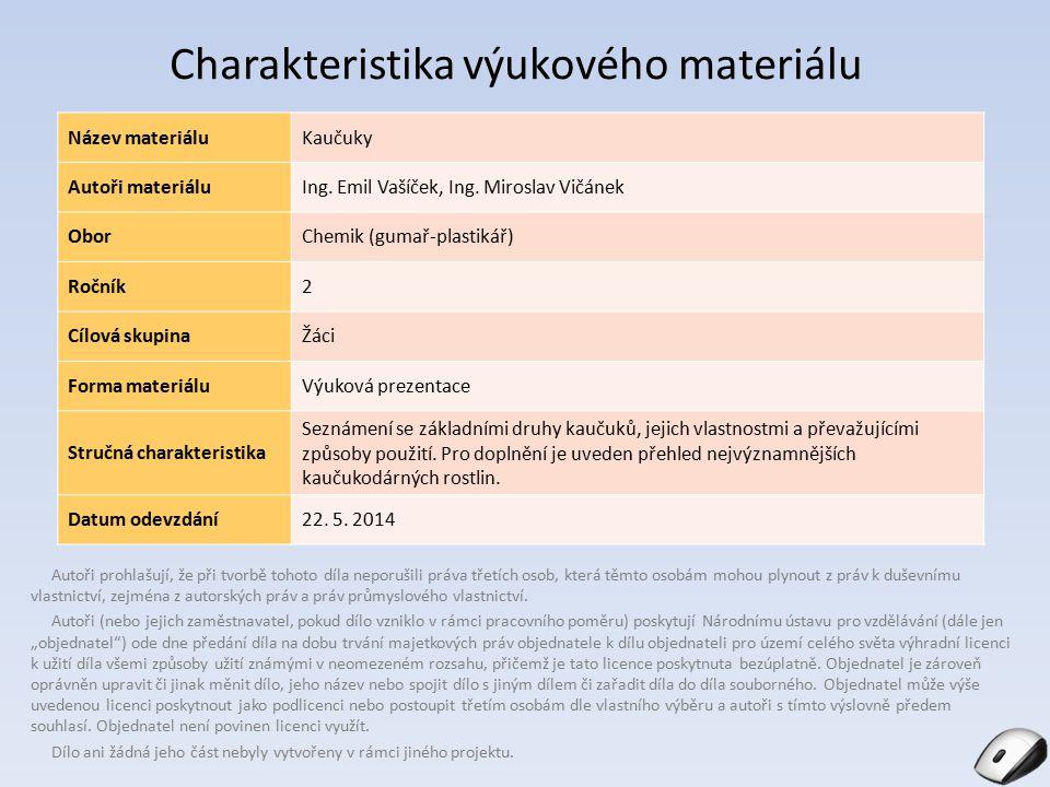 Obsah Charakteristika kaučuku Kaučuk přírodní Kaučuky syntetické Kaučukodárné rostliny Obr.