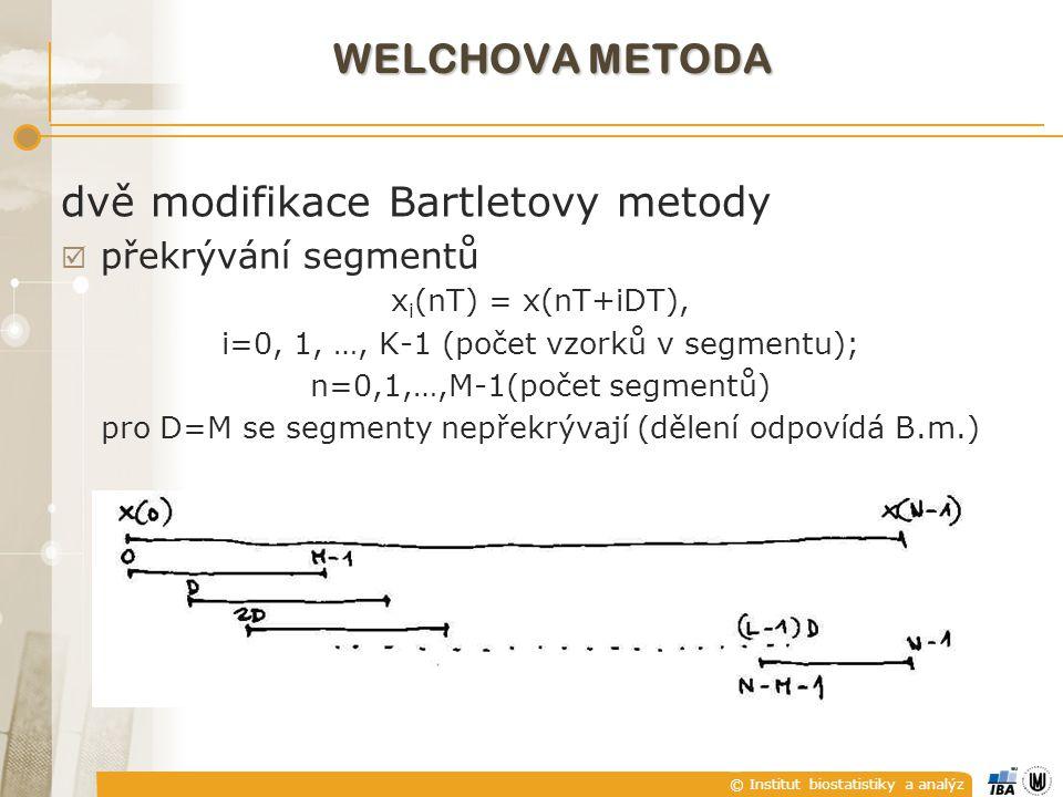 © Institut biostatistiky a analýz  váhování vzorků v každém segmentu oknem před výpočtem periodogramů  kde U je výkonový normalizační faktor okna daný vztahem U = Σw 2 (nT)/M  Welchův odhad výkonového spektra WELCHOVA METODA