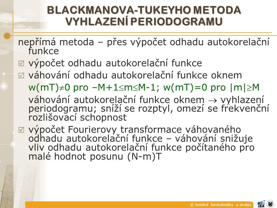© Institut biostatistiky a analýz Blackmanův-Tukeyův odhad ve frekvenční oblasti BLACKMANOVA-TUKEYHO METODA VYHLAZENÍ PERIODOGRAMU