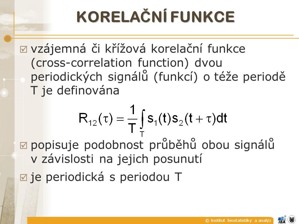 © Institut biostatistiky a analýz KORELA Č NÍ FUNKCE  Vypočtěte vzájemnou korelační funkci signálů s 1 (t)=2cos2t a s 2 (t)=sin2t.