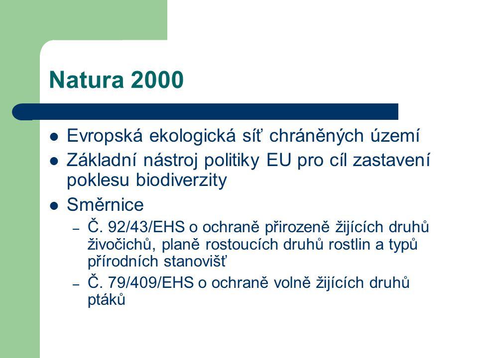 Natura 2000 Principy – Jednotná vědecká kritéria – Závazek zachování příznivého stavu chráněných druhů či stanovišť Bez určení přesných postupů a způsobů ochrany Cílový stav – 15 % území EU Členské státy – návrh lokality Natura 2000  Evropská komise – rozhodnutí o zařazení