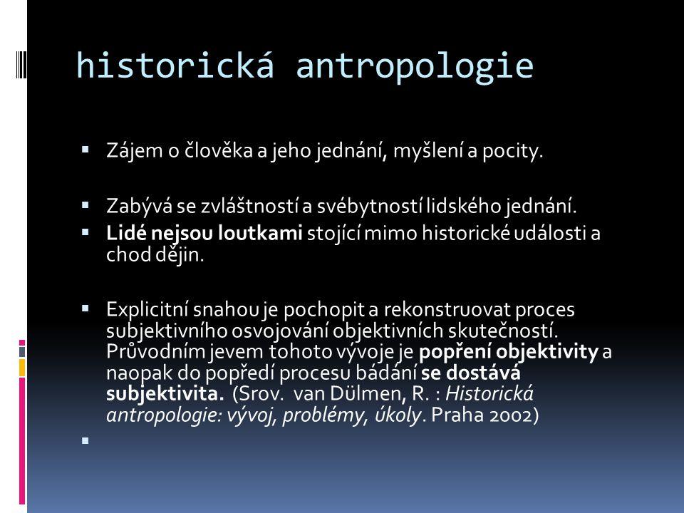 """ Proces antropologizace historie  je určen technikou a metodou výzkumu inspirace kvalitativním sběrem dat  poznatky jiných oborů (interdisciplinarita)  pochopit myšlení, pohled subjektivního """"objektu"""
