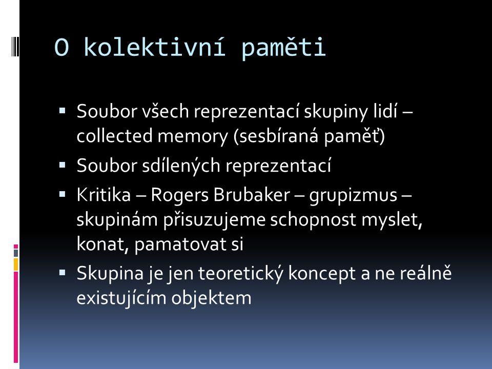  Jelikož neexistuje skupinová mysl, kolektivní paměť přestává být konceptem  Hovořit o KP znamená připisovat skupinám připisovat skupinám kognitivní schopnost jednotlivců
