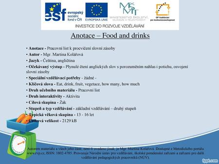 Anotace – Food and drinks