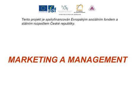 MARKETING A MANAGEMENT. Analýzy prostředí firmy z pohledu marketingu a managementu.
