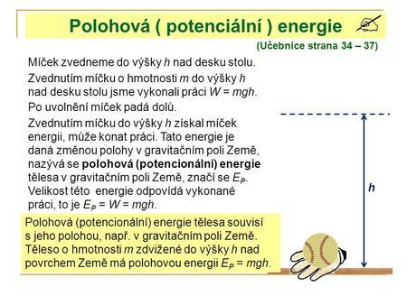 Polohová energie příklady