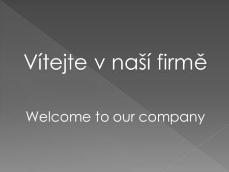 Vítejte v naší firmě Welcome to our company. Education agency.