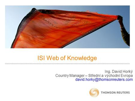 ISI Web of Knowledge Ing. David Horký